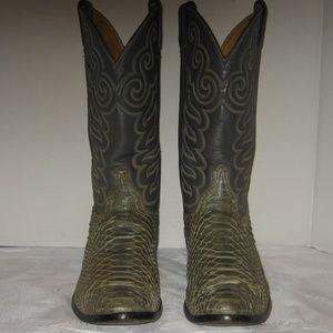 TONY LAMA Gray/Green Python Cowboy Boots, 10.5 EE